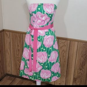 Lilly Pulitzer White Label Strapless Tulips Dress